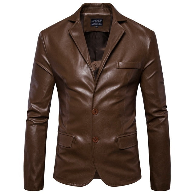 New Men's Leather Jackets 2 Button Formal Dress Suits Fashion Blazers.