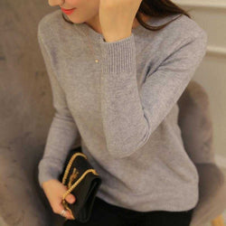 Women's PEONFLY Autumn Winter Sweater Knitted Jersey Jumper