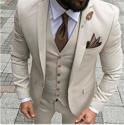 Latest Coat Pant Designs Beige Men Wedding Suit Prom Tuxedo Slim Fit 3 Piece Suits