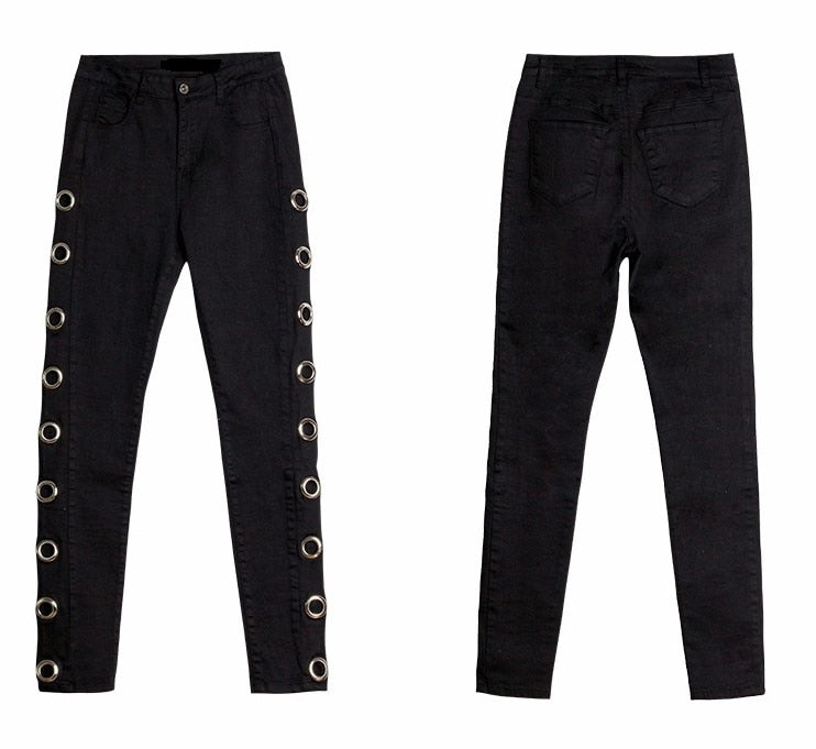 High Street Side Eyelets  Women's Jeans Black Skinny Denim Jeans Women Pants.