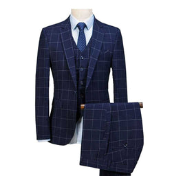 Royal Blue 3 Pieces Mens Slim Fit Wedding Suits weed Wool Tuxedos