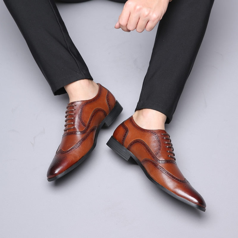 PU Leather Men Dress Shoes-Formal Wedding Party Shoes Luxury Brand Men's Oxfords.
