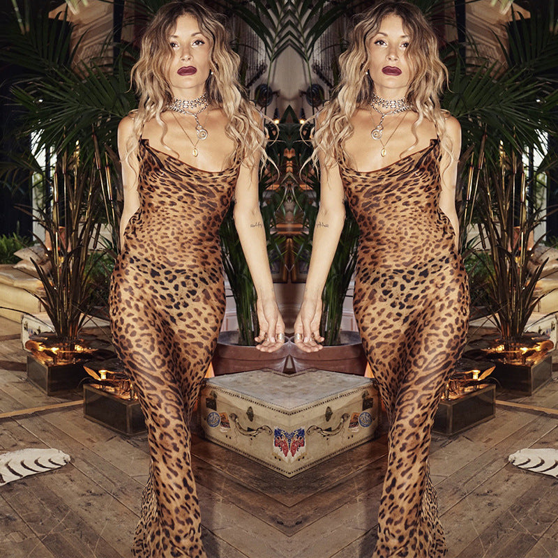 Women's sleeveless print Leopard women long dress.
