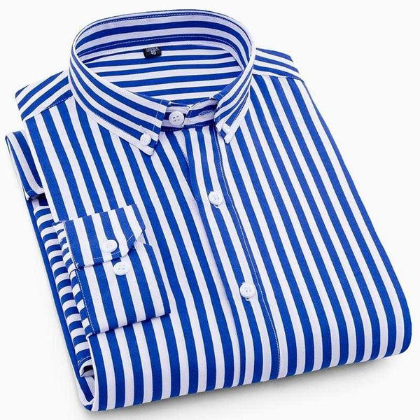 2019 NEW Men Striped Casual Long Sleeve Shirt Slim Fit Business Social Dress Shirts