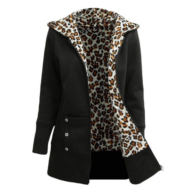 Women's Hoodies Leopard Fleece Lining Warm Coat.