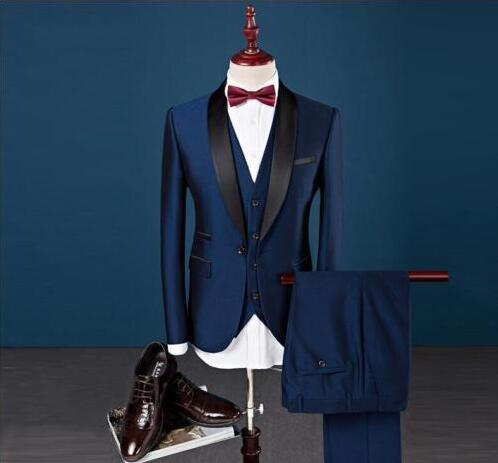 Slim Fit Peak Lapel Best Man Wedding Blue Suit.