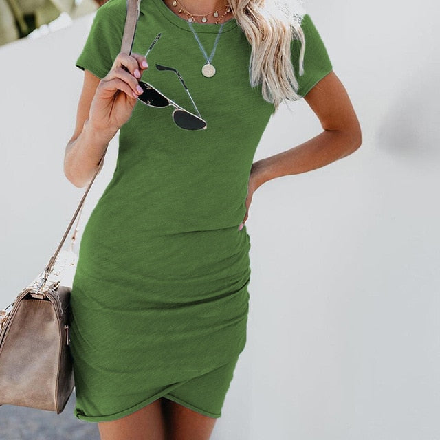 Women's Summer Short Sleeve Solid Bodycon Slim Party Dress.