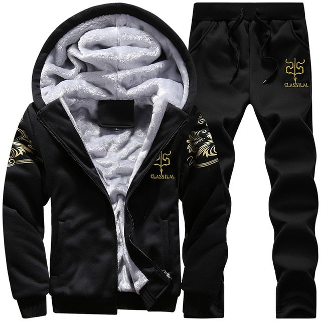 Men's Sporting Fleece Thick Hooded Brand-Clothing Casual Track Suit.