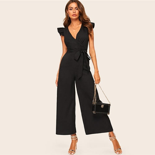 Women's Elegant Surplice Wrap Belted Wide Leg Black Jumpsuit.