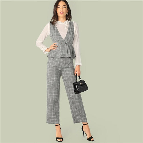 Women Classy Grey Double Button Wrap Peplum Plaid Top Without Blouse and Pants Set.