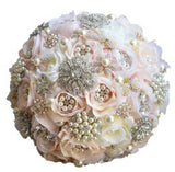 Round Blush Wedding Bouquet Teardrop Butterfly Brooches Bouquet.