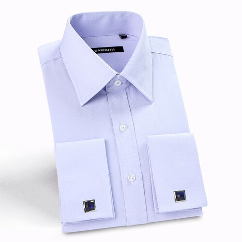 Men's Classic Spread Collar French Cuff Dress Shirts Regular-fit.