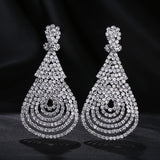 New Women's Clear Multiple Crystal Silver Plated Drop Earrings