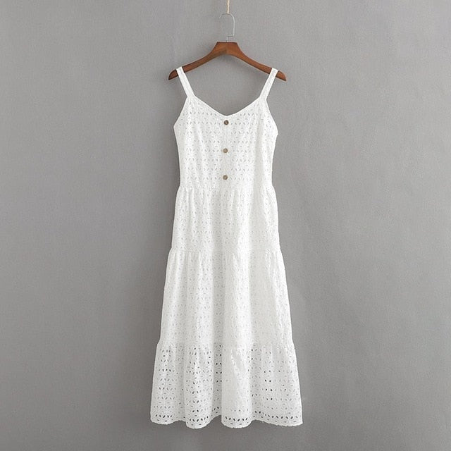 Spaghetti White Cotton Camisole Summer Dresses.