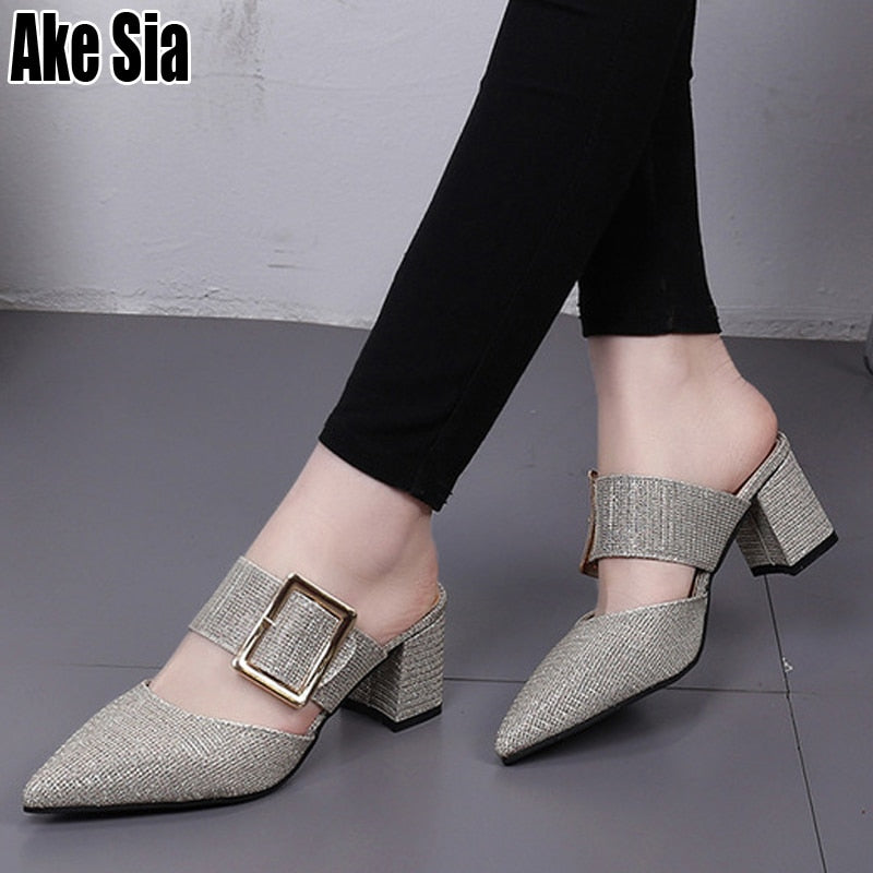 TOP Graceful Women Fashion Casual Belt Buckle Pointed Toe Sandals A 455