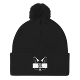 Kitsune - Embroidered  Pom Pom Knit Cap