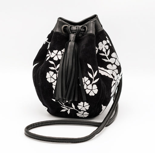 Lulu embroidered suede 'Bubble' bag