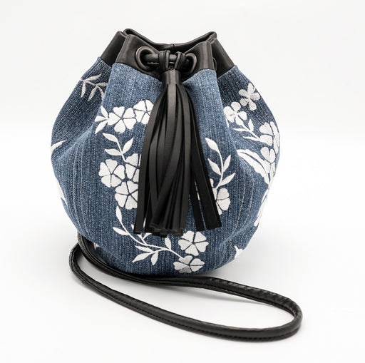 Lulu vintage denim embroidered 'Bubble' bag