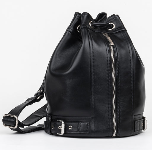 Carolyn Black Leather Bucket bag