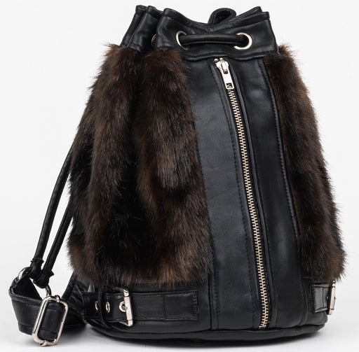 Carolyn Faux Mink Bucket bag