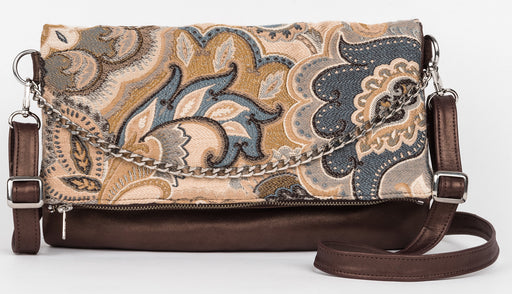 Haidee reversible leather/paisley bag