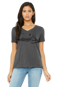 Salty Port V-Neck Tee  - Women's Asphalt