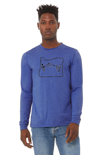 Oregon Map Mt Hood Long Sleeve T-Shirt - Unisex Heather True Royal