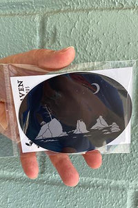 Moon Over Three Graces Oval G/B Vinyl Sticker