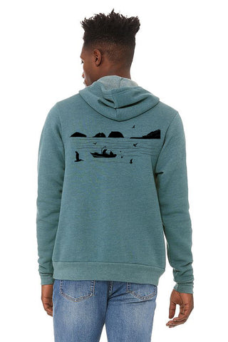 Bay Bounty Ultra Soft Pull Over Hoodie - Unisex Heather Deep Teal