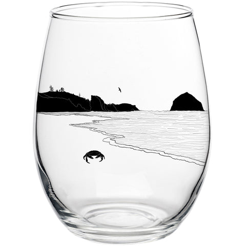 Crabby Beach Stemless Wine Glass