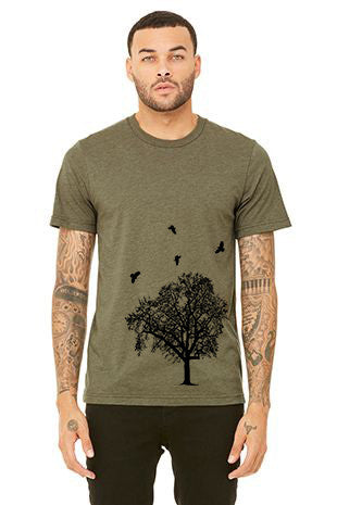 Crow Swarm T-Shirt - Unisex Heather Military Green