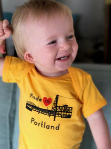 Seasons K Designs Salty Raven Made in Portland onesie Gold