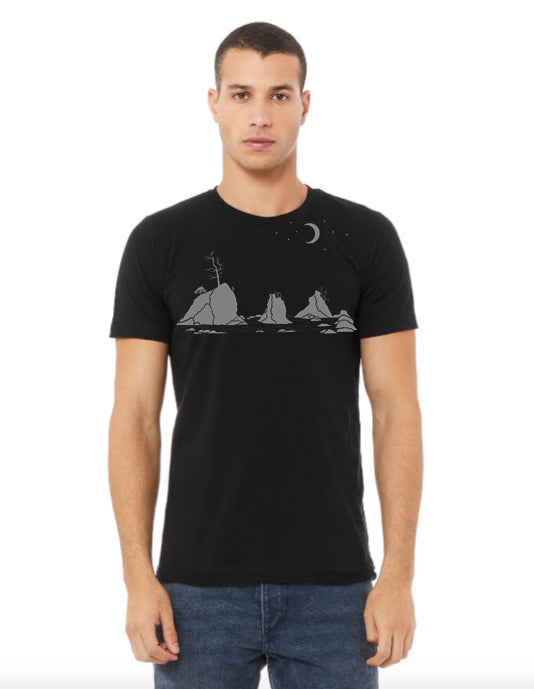 Moon Over Three Graces T-Shirt - Unisex Black