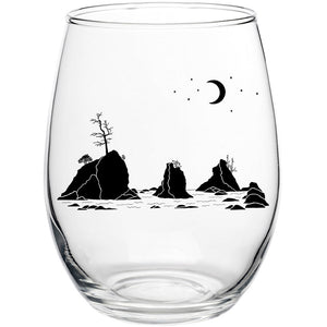 Moon Over Three Graces Stemless Wine Glass