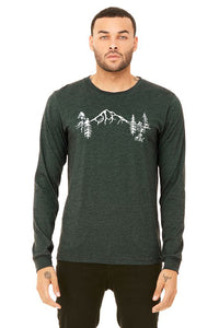 Mt Hood Forest T-Shirt - Long Sleeve Unisex Heather Forest