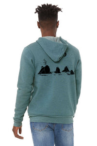 Moon Over Three Graces Ultra Soft Zip Up-Hoodie - Unisex Heather Deep Teal