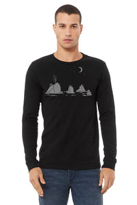 Moon Over Three Graces T-Shirt - Long Sleeve Unisex Black