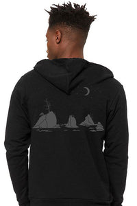 Moon Over Three Graces Zip Up-Hoodie - Unisex Black Heather