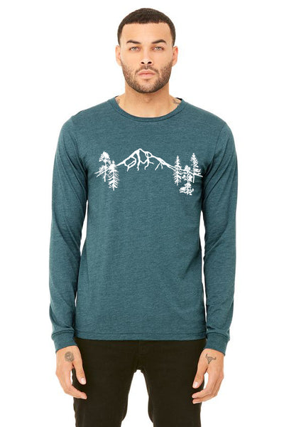 Mt Hood Forest T-Shirt - Long Sleeve Unisex Heather Deep Teal