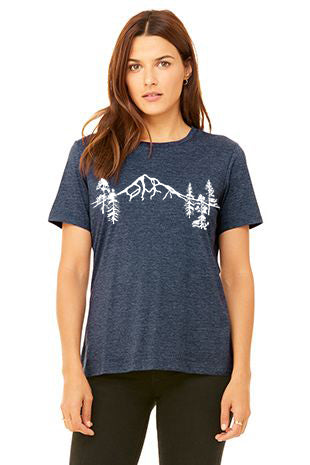 Mt Hood Forest T-Shirt - Women's Heather Navy