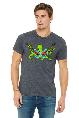 Octo Rocks Out T-Shirt - Unisex Dark Gray Heather