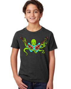 Octo Rocks Out T-Shirt - Youth Charcoal