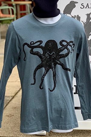 Octopus T-Shirt - Long Sleeve Unisex Heather Slate