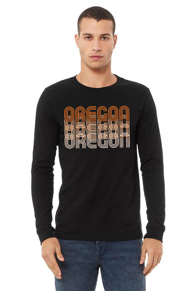 Oregon Fade T-Shirt - Long Sleeve Unisex Black