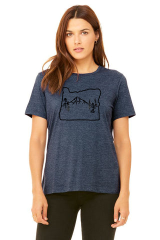 Oregon Map Mt Hood T-Shirt - Women's Heather Navy