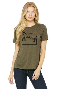 Oregon Map Mt Hood T-Shirt  - Women's Olive Tri-Blend