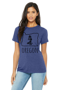Oregon Pine T-Shirt - Women's True Royal Tri-Blend