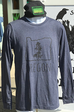 Oregon Pine T-Shirt - Long Sleeve Unisex Heather Navy