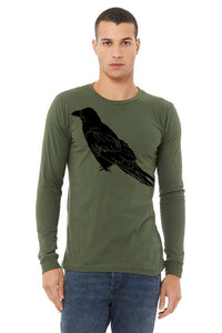 Perched Raven T-Shirt - Long Sleeve Unisex Military Green