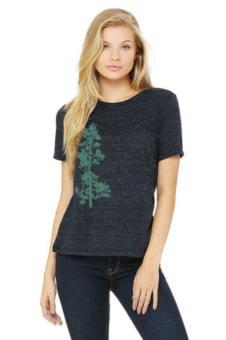 Pine Tree Flock T-Shirt - Women's Navy Slub